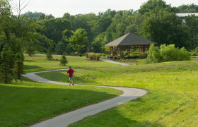 walking trail at meridian at eagleview apartments in exton, pa