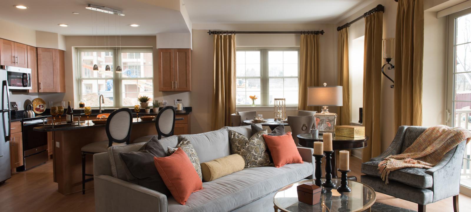 sofa at Meridian at Eagleview apartments in Exton PA