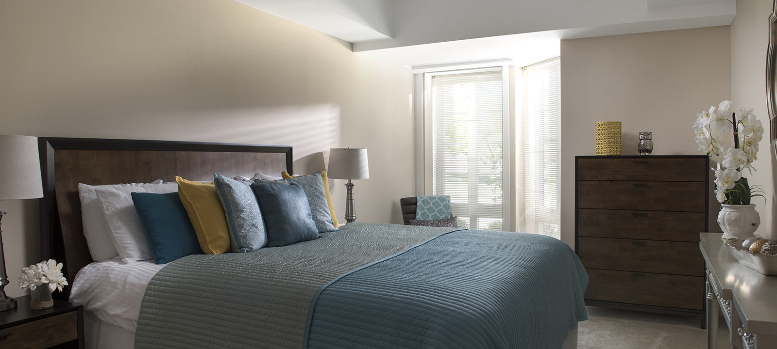 bed at Meridian at Eagleview apartments in Exton PA